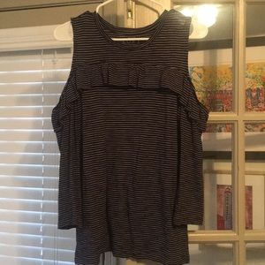 Loft off the shoulder ruffle tee